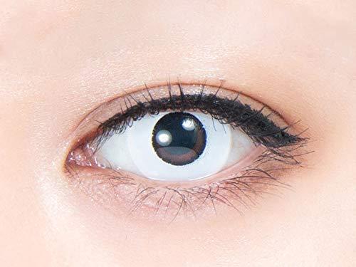 パーフェクトワンデー 【閃刃 -せんじん- (ホワイト)】 ±0.00度なし (1箱6枚) カラコン 白 ホワイト 三白眼...
