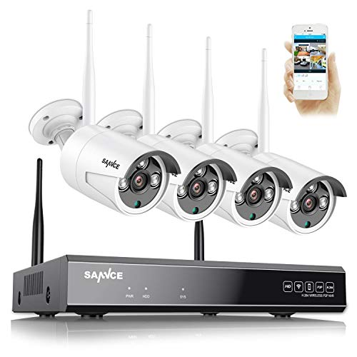 SANNCE Kit de cámara de videovigilancia WiFi NVR 8 canales 4 Kit de vigilancia inalámbrica 1080P Cámara inalámbrica Visión nocturna al aire libre Detección de movimiento P2P IP66 sin HDD