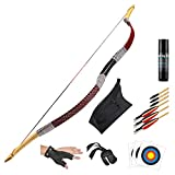 KAINOKAI Traditional Handmade Longbow Horsebow Hunting Recurve Archery Bow Recurve Bow Set (Red...