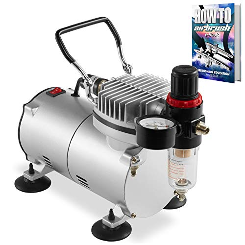 PointZero 1/5 HP Airbrush Compressor with Regulator, Gauge and Water Trap - Quiet Portable Air Pump