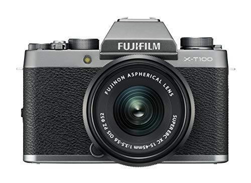 Fujifilm Kit X-T100 Fotocamera Digitale 24MP (APS-C), Mirino EVF, Schermo LCD Touch da 3'...