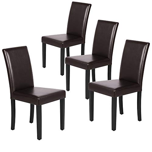 Yaheetech Dining Chair Living Dining Room PU Cushion Diner Chair Kitchen Dining Chairs with Solid Wood Legs Set of 4, Brown