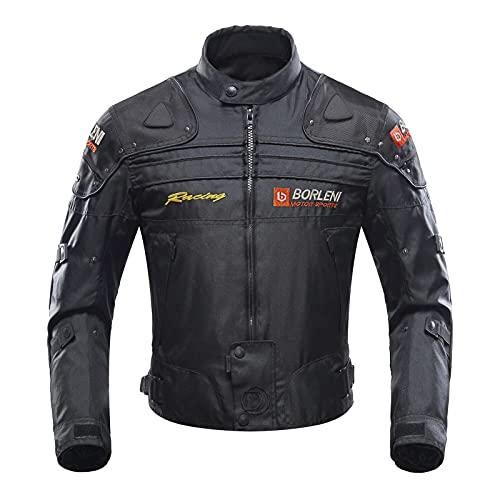 BORLENI バイク ジャケット オールシーズン プロテクトソフトシェル ライダースジャケット オートバイウエア 着脱可能インナー付き (ブラック,M)