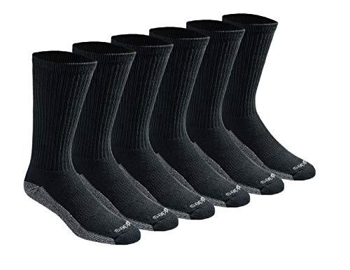 Dickies Men's Dri-tech Moisture Control Crew Socks Multipack, Black (6 Pairs), Shoe Size: 6-12