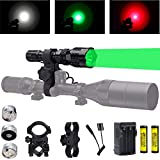 Predator Light with Green Red White LED Hunting Flashlight, Pressure Switch, Rifle Barrel & Scope Mount for Hogs Coyotes Varmints Raccoons Coon Deer Night Hunting (Batteries and Charger Included)