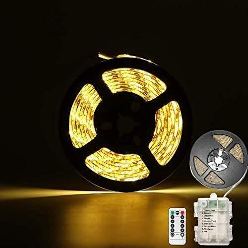 CCILAND - Tira de luces LED con pilas, 3 metros, 90 tiras de