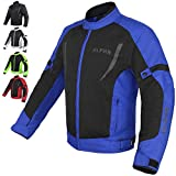 HI VIS MESH MOTORCYCLE JACKET FOR MENS RIDING BIKERS RACING DUAL SPORTS BIKE ARMORED PROTECTIVE (BLUE, MEDIUM)