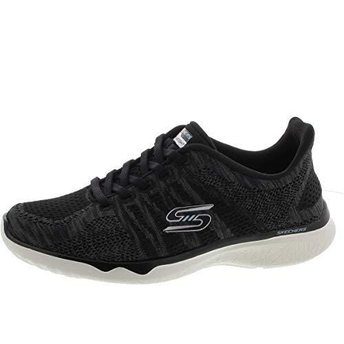 Skechers Sport Women's Studio Burst Virtual Reality Fashion Sneaker,Black-White,8
