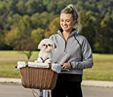 PetSafe Happy Ride Wicker Bicycle Basket for Dogs and Cats - Stylish Weather Resistant Wicker Material - Comfortable, Easy to Clean Soft Liner - Removable Sun Shield Included - Best for Pets up to 13 lb