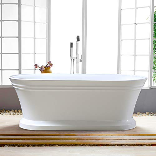 Vanity Art Freestanding White Acrylic Bathtub Modern Stand Alone Soaking...