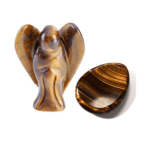 CrystalTears Natural Tiger Eye Stone Carved Guardian Angel...