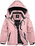 GEMYSE Girl's Waterproof Ski Snow Jacket Fleece Windproof Winter Jacket with Hood (Coral Pink,6/7)