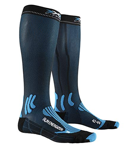X-Socks Run Energizer, Calzini Unisex-Adulto, Teal Blue/Opal Black, 42-44