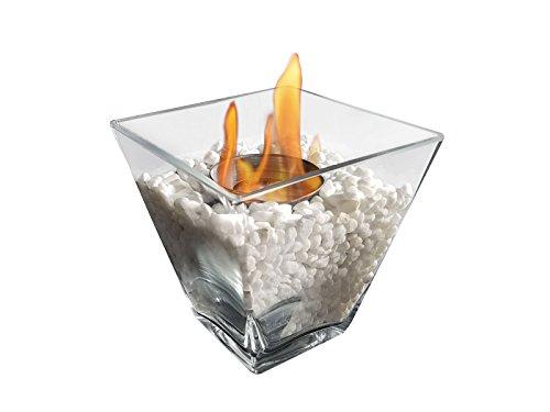 Glass tabletop bio-ethanol fireplace PTELEA Purline