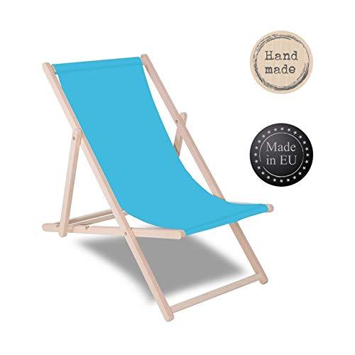 SPRINGOS Liegestuhl DIY Holz Sonnenliege Klappbar Relaxsessel Gartenliege Entspannung (Blau)