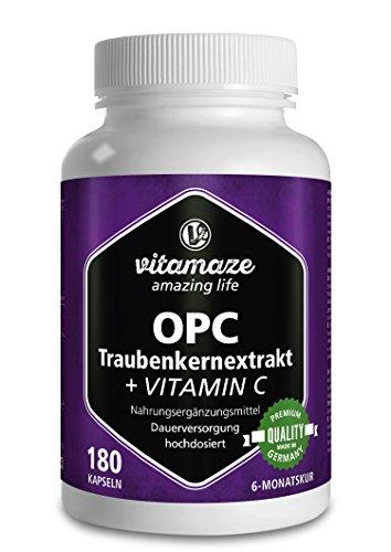 OPC Traubenkernextrakt Kapseln, zertifiziert, hochdosiert: 450 mg reines OPC, 180 Kapseln für 6 Monate, Natürliche Nahrungsergänzung ohne Zusätze, Made in Germany