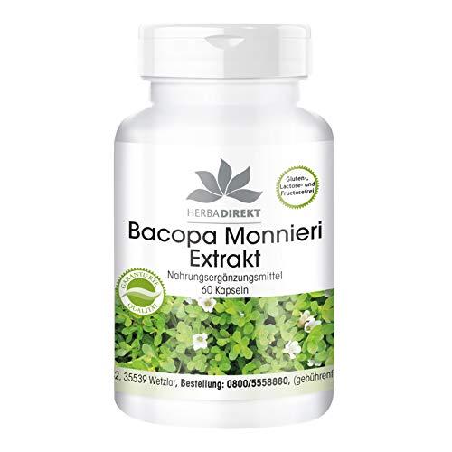 Bacopa Monnieri Kapseln - Brahmi Extrakt - enthält 20% Bacoside - 60 Kapseln - vegan