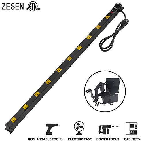 ZESEN 10 Outlet Heavy Duty Workshop Metal Power Strip Surge Protector with 4ft Heavy Duty Cord, ETL Certified, Black