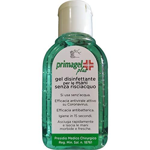 Gel Disinfettante Mani 2 Flaconi Senza Risciacquo Asciuga Rapidamente Sapone Igienizzante Mano Portatile 2x50ml Primagel Plus Efficacia Antivirale Antibatterico Attivo su Coronavirus (2)