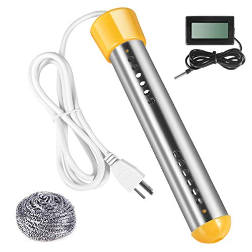 Immersion Water Heater, Stainless Steel Shield and Thermostat Heater, Barrel Water Heater Thermostat 1500W with Digital Thermometer