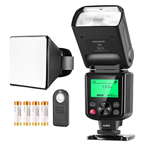 Neewer Kit di Flash Speedlite TTL NW-670 per Canon, con Wireless Telecomando a Infrarossi, Batteria...