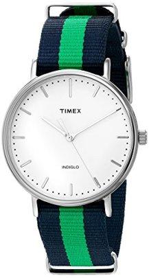Timex Unisex TW2P90800 Fairfield 41 Blue/Green Nylon Slip-Thru Strap Watch