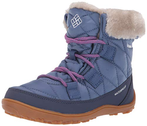 Columbia Unisex-Kid's Youth Minx Shorty Omni-Heat Waterproof Snow Boot, Bluebell/Pink ice, 1 Regular US Little Kid