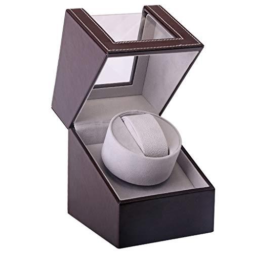 Automatische Uhrenbeweger Box, luxuriöser automatischer Uhrenwender mit leisem Motor, Batteriebetrieb oder Netzteil für Automatikuhren (braun)