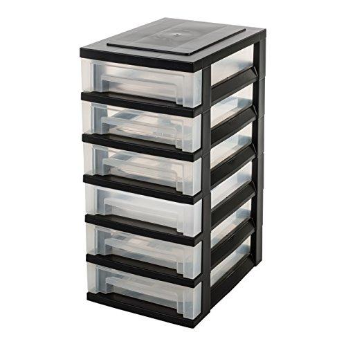 IRIS, Schubladenschrank / Schubladenbox / Rollwagen / Rollcontainer / Werkzeugschrank \'Smart Drawer Chest\', SDC-360, mit Rollen, Kunststoff, schwarz / transparent