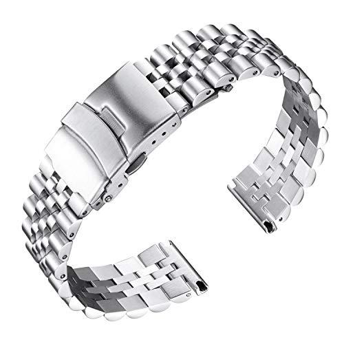 BINLUN Herren Edelstahl Uhren Armbänder Ersatz mit Butterflyverschluss mit Sicherheitsverschluss in Schwarz, Silber 18mm 20mm 22mm 24mm 26mm