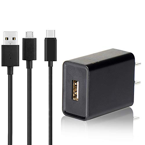 Kindle Fire Fast Charger, (UL Listed) AC Adapter Rapid Charger with 6.5 Ft Micro USB and USB C Cable Compatible with Fire 6 7 8 8Plus 10 Tablet, HDX 6' 7' 8.9' 9.7', Tab Power Supply Cord