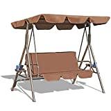 GOLDSUN Durable 3 Person Outdoor Patio Swing with Teapoy Weather Resistant Canopy Steel Frame and Removable Cushion for Balcony,Garden, Porch,Deck and Poolside(Coffee)