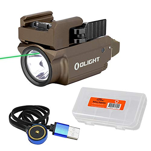Olight Baldr Mini Tan 600 Lumen Rail Mount Tactical Flashlight Green Laser Sight Combo with LumenTac Organizer