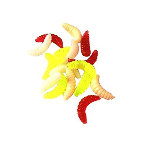 Befaith 100pcs Maggot Esche da Pesca in Silicone Bionic Esche Pesci Soft Lures Colore Casuale