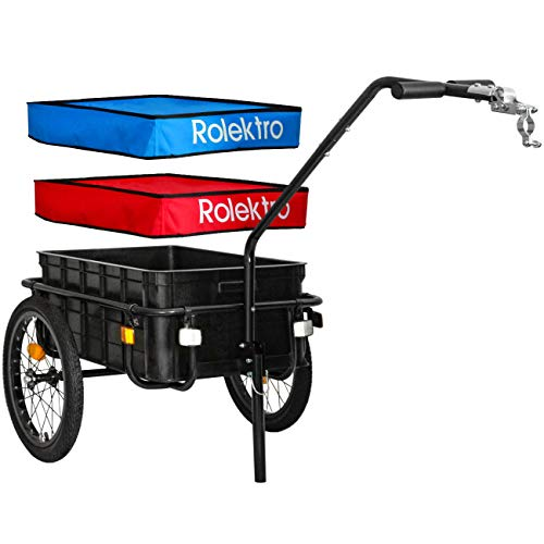 Rolektro 70L Fahrradanhänger StVZO konformer Lastenanhäger Hochdeichsel Kupplung LED Rücklicht Handwagen Schwarz