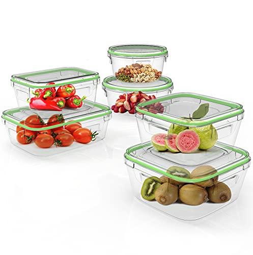 Home Fleek - Envases de Vidrio Mixto para Alimentos | Herméticos | Sin BPA (Verde, Set 6)