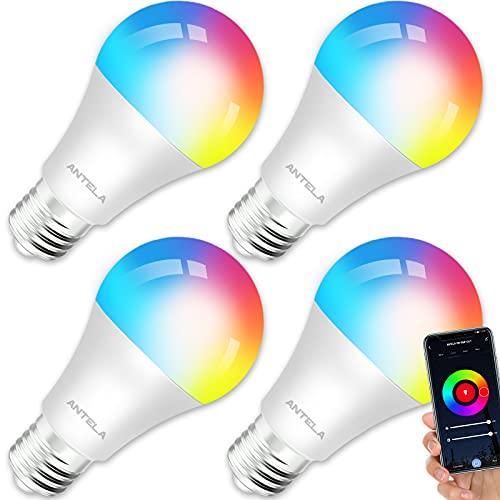 ANTELA Bombilla LED Inteligente WiFi E27 Sin Necesidad de Hub Compatible Alexa, Echo y Google Home, Bombilla LED 9W 806lm Equivalente 80 Watios, Bombilla RGB Blanco Cálido/...