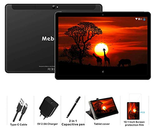 MEBERRY Tablet 10 Pollici Android 9.0 Pie Tablets 4GB RAM + 64GB ROM - Certificato Google GSM - Dual SIM   8000mAh   WI-FI  Bluetooth   GPS  Type-C (5.0+8.0 MP Telecamera) - Nero
