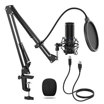 TONOR Microphone à Condensateur USB Enregistrement pour Ordinateur de Bureau et Ordinateur Portable MAC Windows Microphone Cardioïde pour Enregistrement Studio Conversation YouTube Voix-off