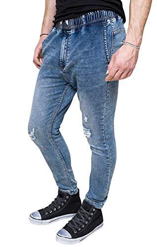 Evoga Jeans Uomo Slim Fit in Cotone Casual Elasticizzato Panta-Tuta skynny con Strappi (48, Blu)