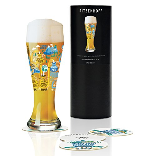 RITZENHOFF Sascha Morawetz - Bicchiere da birra in cristallo con 5 sottobicchieri, 500 ml
