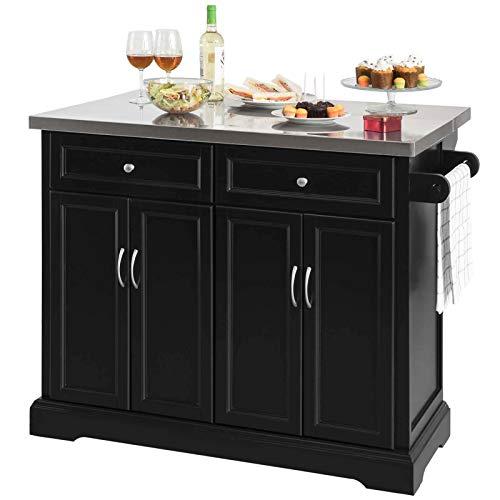 SoBuy FKW71-SCH,Carrito de Cocina con Piso de Acero,con Tablero Extensible,L115 x P46 x H92cm,ES (Negro)