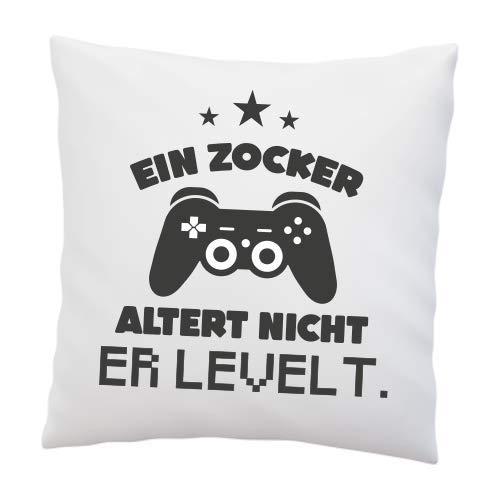 Liebtastisch-Kissen mit Spruch EIN Zocker altert Nicht. Er levelt. - lustig - Geschenke für zocker...