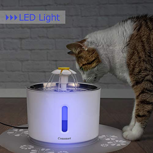 Comsmart Cat Water Fountain, 81 Ounce/2.4 Liters LED Pet Fountain Stainless Steel Automatic Drinking Water Dispenser for Cats, Dogs, Other Pets