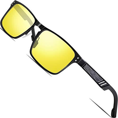 ATTCL Night Driving Glasses Rectangular for Men Al-Mg Metal Frame Ultra Light Yellow 6500