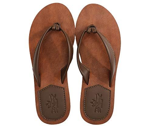 AXBOXING Chanclas Mujer Flip Flop PU Cuero Simple Elegante Sommer Sandalias Verano Suave Ligeras Playa Vacaciones Antideslizantes Tamaño 36-41 (MARRÓN, Numeric_39)