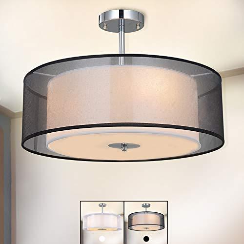 Plafonnier Suspensions moderne, SPAKRSOR Lustre avec abat-jour Textile, 50 cm de diamètre, 3 x E27 Lampe
