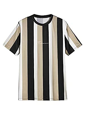 95% Polyester, 5% Spandex. Fabric has some stretch. Casual stylish t shirt for men. Soft and Comfy. Feature: Graphic striped and letter print, Short Sleeve, Round Neck Perfect for Summer,Weekend Casual,Vacation,School,Shopping and Daily Wear. Please ...