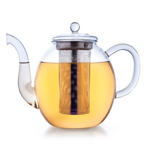 Creano Teekanne aus Glas 1,5l, 3-Teilige Glasteekanne mit Integriertem Edelstahl-Sieb und Glas-Deckel, Ideal zur Zubereitung von Losen Tees, tropffrei, All-in-One
