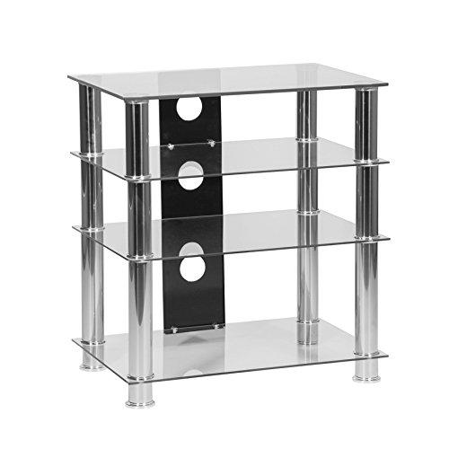 Supporto Hi-Fi a 4 ripiani in vetro trasparente